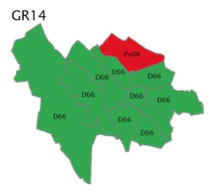 Grootste partij per wijk GR14 Utrecht