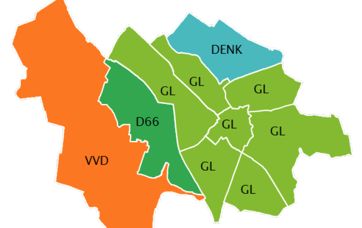Grootste partij per wijk GR18 Utrecht