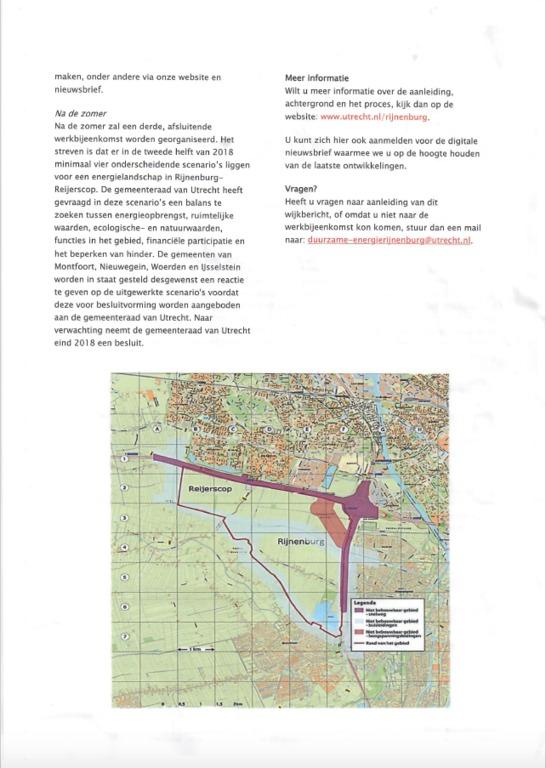 Wijkbericht van de gemeente Utrecht over de eerste werkbijeenkomst zon- en/of windenergie in Rijnenburg-Reijerscop