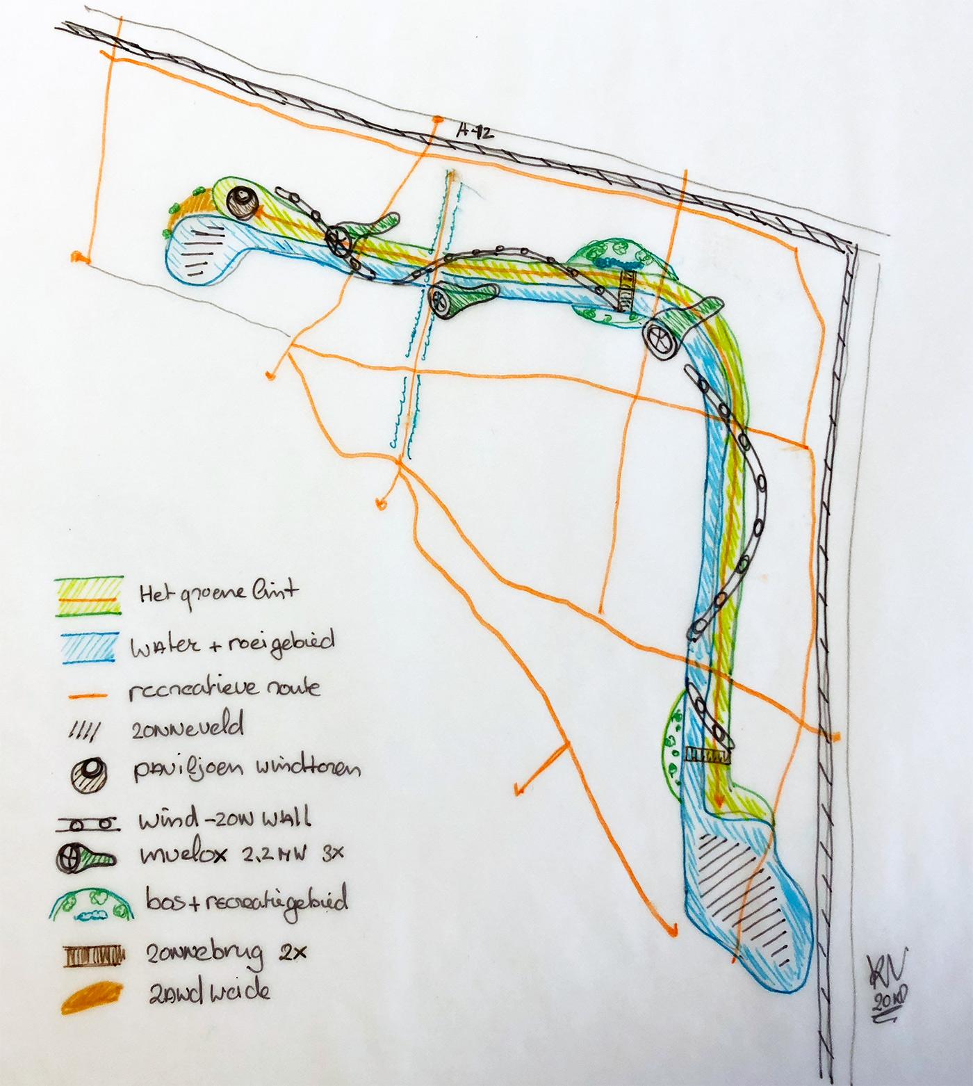 Een van de tekeningen waarin de uitwerkingen van de ideeën om een leefbare omgeving te combineren met een hoog rendement energiepark verder worden uitgewerkt. Bron: website www.parkhetgroenelint.nl