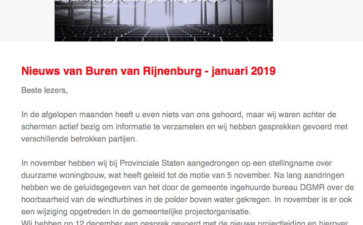 Nieuwsbrief van 21 januari 2019