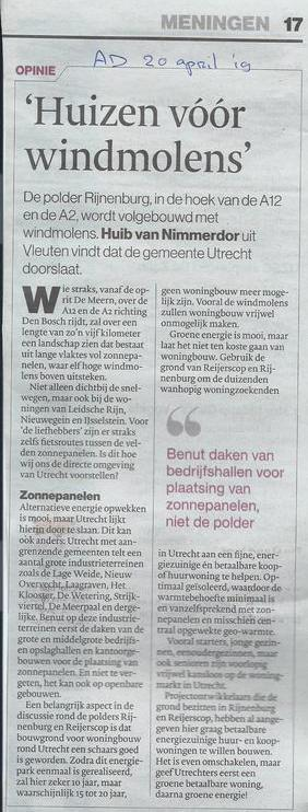 'Huizen vóór windmolens' Opinie - AD 20 april