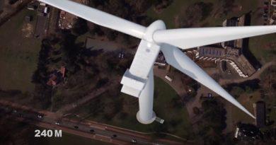 Hoe hoog is 240 meter? Foto uit video van Energie De Bilt.